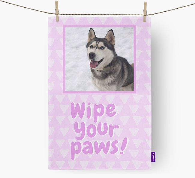 Photo Upload 'Wipe Your Paws' Dish Towel with Dog Picture