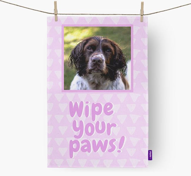 Photo Upload 'Wipe Your Paws' Dish Towel with Springer Spaniel Picture