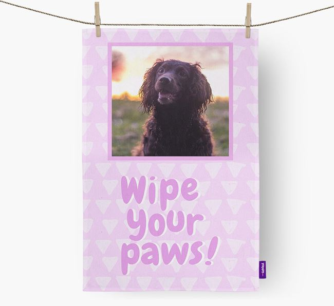 Photo Upload 'Wipe Your Paws' Dish Towel with Sprocker Picture