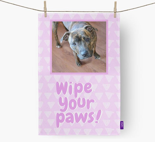 Photo Upload 'Wipe Your Paws' Dish Towel with Staffordshire Bull Terrier Picture