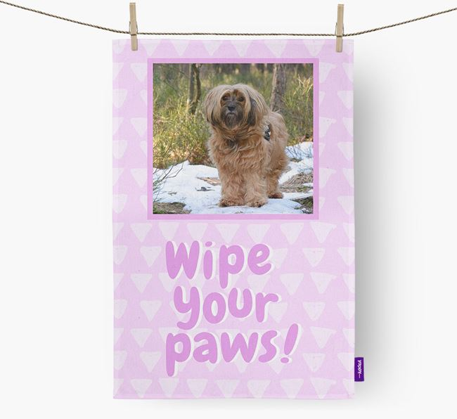 Photo Upload 'Wipe Your Paws' Dish Towel with Tibetan Terrier Picture