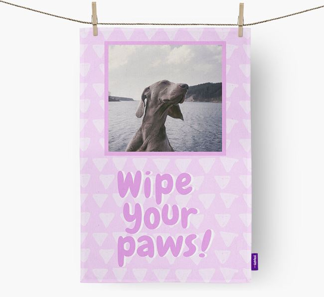 Photo Upload 'Wipe Your Paws' Dish Towel with Weimaraner Picture