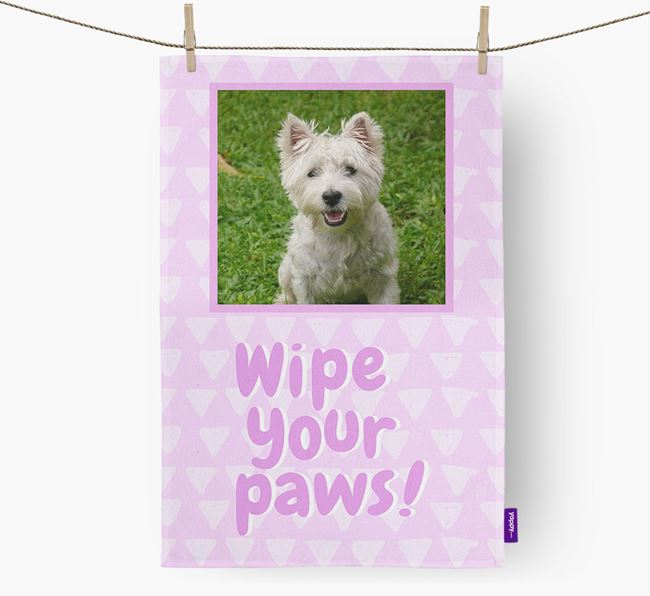 Photo Upload 'Wipe Your Paws' Dish Towel with West Highland White Terrier Picture