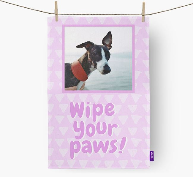 Photo Upload 'Wipe Your Paws' Dish Towel with Whippet Picture