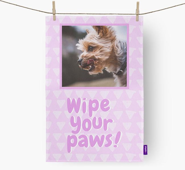 Photo Upload 'Wipe Your Paws' Dish Towel with Yorkshire Terrier Picture