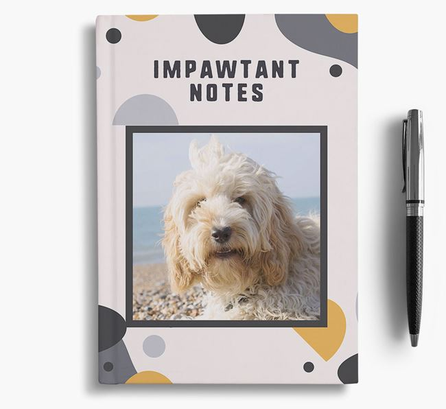'Impawtant Notes' Notebook with photo of your Cockapoo