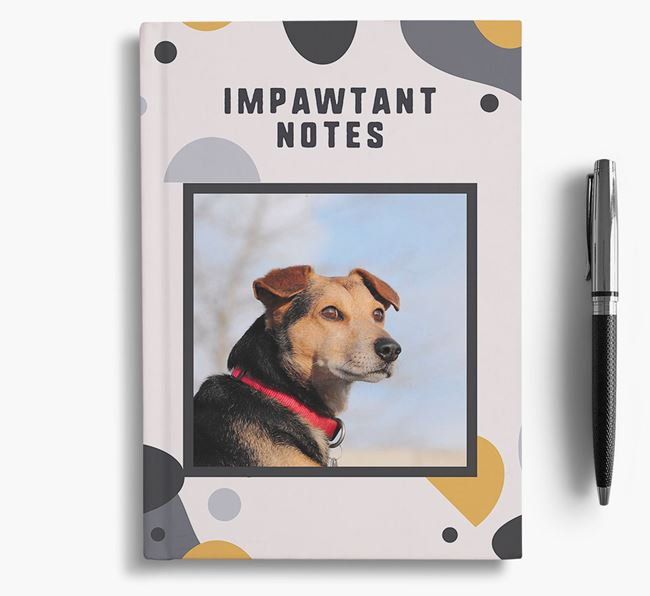 'Impawtant Notes' Notebook with photo of your Foxhound
