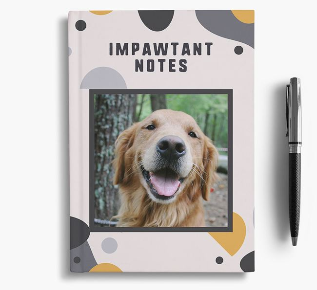 'Impawtant Notes' Notebook with photo of your Golden Retriever