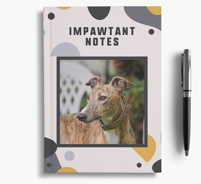 'Impawtant Notes' Notebook with photo of your Greyhound