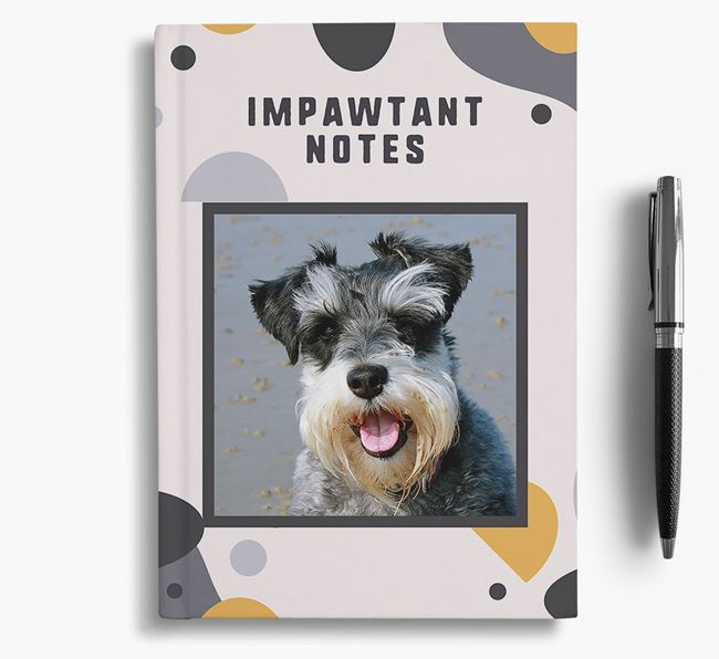'Impawtant Notes' Notebook with photo of your Schnauzer