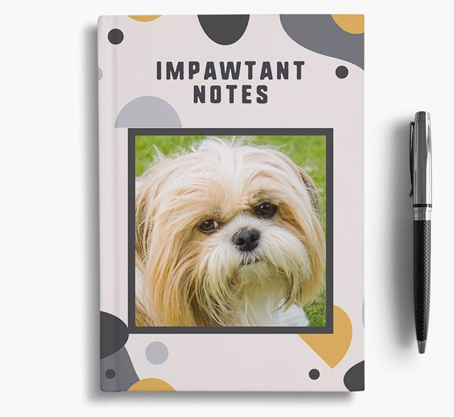 'Impawtant Notes' Notebook with photo of your Shih Tzu