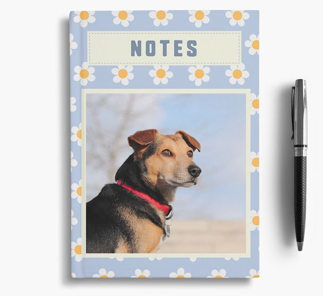 Daisy Pattern Notebook with photo of your Bedlington Terrier