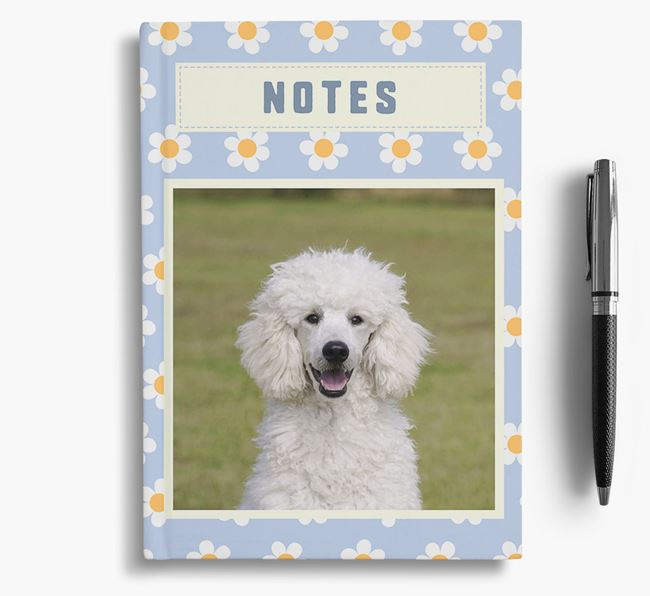 Daisy Pattern Notebook with photo of your Poodle