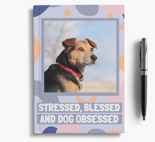 'Stressed, Blessed and Dog Obsessed' Notebook with photo of your Bedlington Terrier