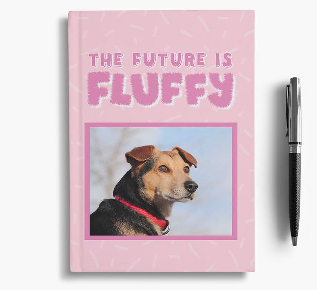 'The Future is Fluffy' Notebook with photo of your Great Dane