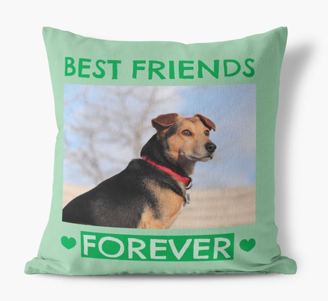 Photo Upload 'Best Friends Forever' Canvas Pillow with Siberian Cocker Picture