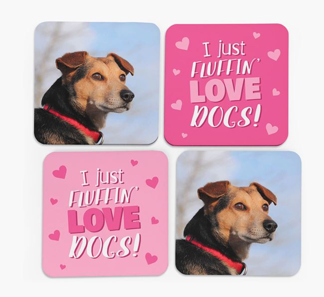 'I Just Fluffin' Love Dogs' Coasters with Photo of your Great Dane - Set of 4