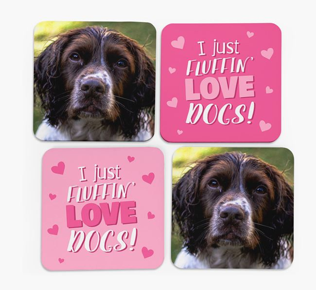'I Just Fluffin' Love Dogs' Coasters with Photo of your Springer Spaniel - Set of 4