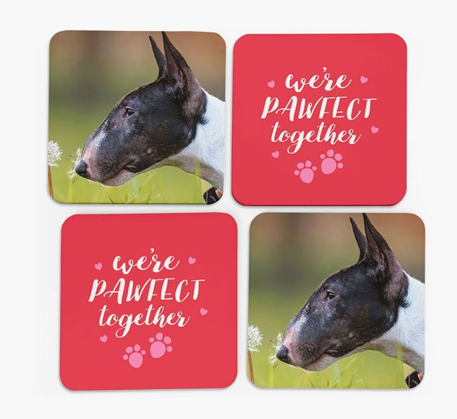 'We're Pawfect Together' Coasters with Photo of your Bull Terrier - Set of 4