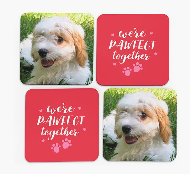 'We're Pawfect Together' Coasters with Photo of your Cavachon - Set of 4
