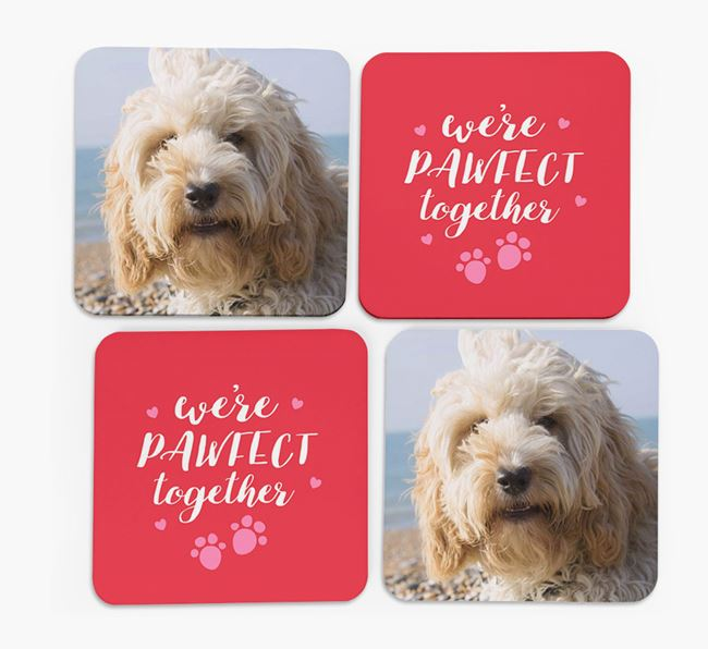 'We're Pawfect Together' Coasters with Photo of your Cockapoo - Set of 4