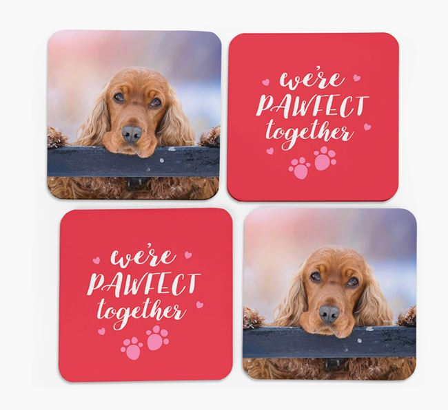 'We're Pawfect Together' Coasters with Photo of your Cocker Spaniel - Set of 4