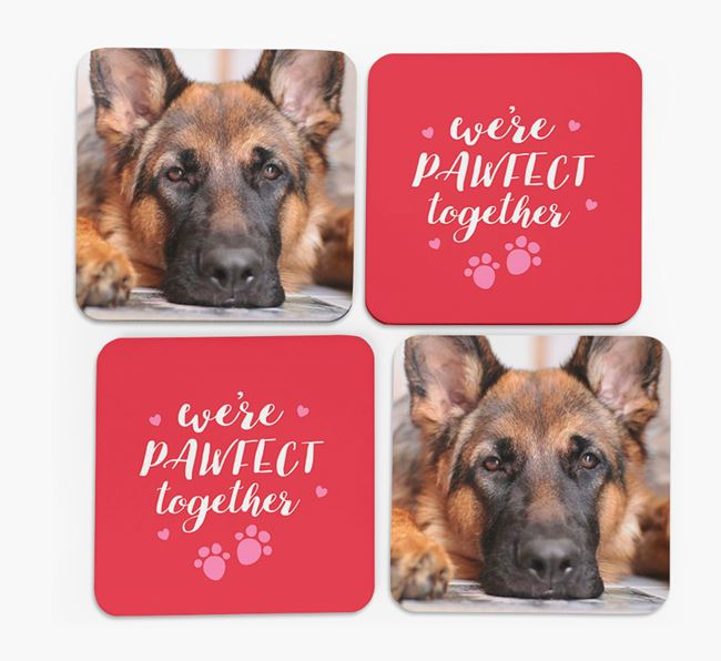 'We're Pawfect Together' Coasters with Photo of your German Shepherd - Set of 4