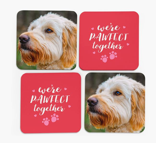 'We're Pawfect Together' Coasters with Photo of your Goldendoodle - Set of 4