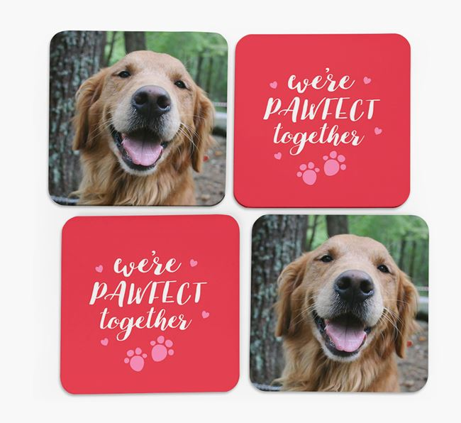 'We're Pawfect Together' Coasters with Photo of your Golden Retriever - Set of 4