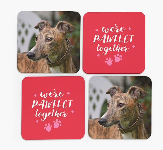 'We're Pawfect Together' Coasters with Photo of your Greyhound - Set of 4
