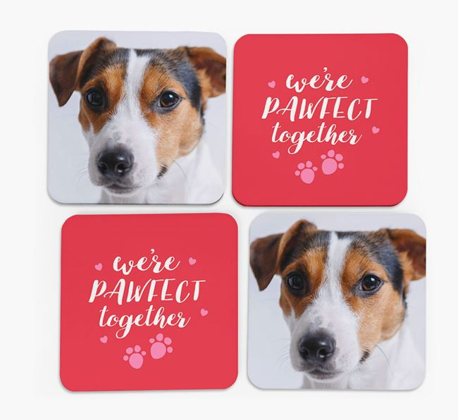 'We're Pawfect Together' Coasters with Photo of your Jack Russell Terrier - Set of 4