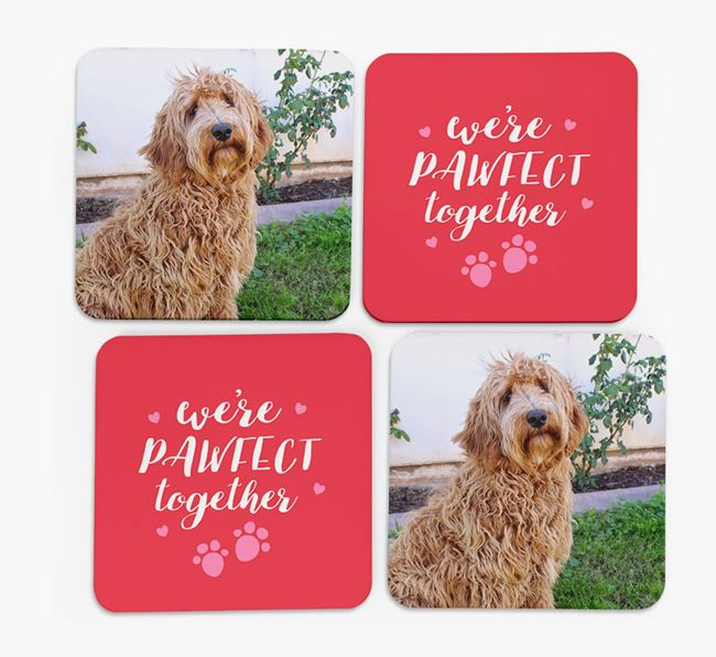 'We're Pawfect Together' Coasters with Photo of your Labradoodle - Set of 4
