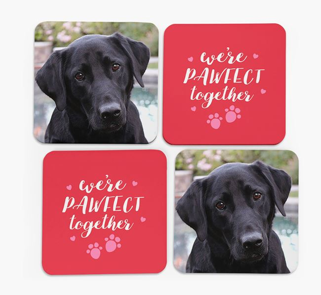 'We're Pawfect Together' Coasters with Photo of your Labrador Retriever - Set of 4