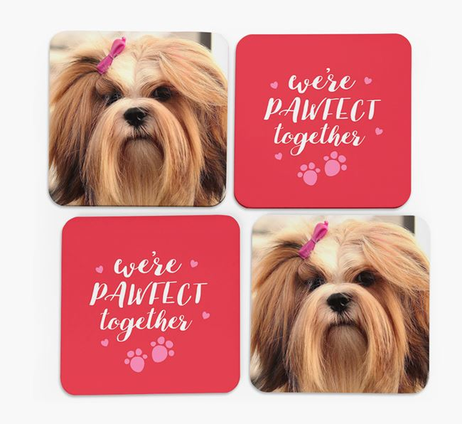 'We're Pawfect Together' Coasters with Photo of your Lhasa Apso - Set of 4
