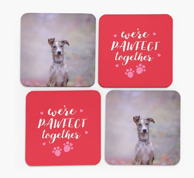 'We're Pawfect Together' Coasters with Photo of your Lurcher - Set of 4