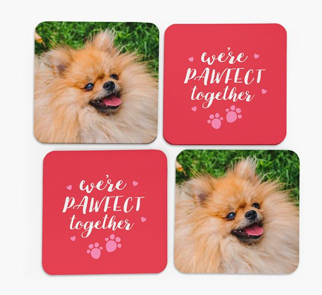 'We're Pawfect Together' Coasters with Photo of your Pomeranian - Set of 4