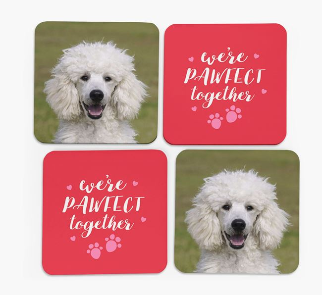'We're Pawfect Together' Coasters with Photo of your Poodle - Set of 4