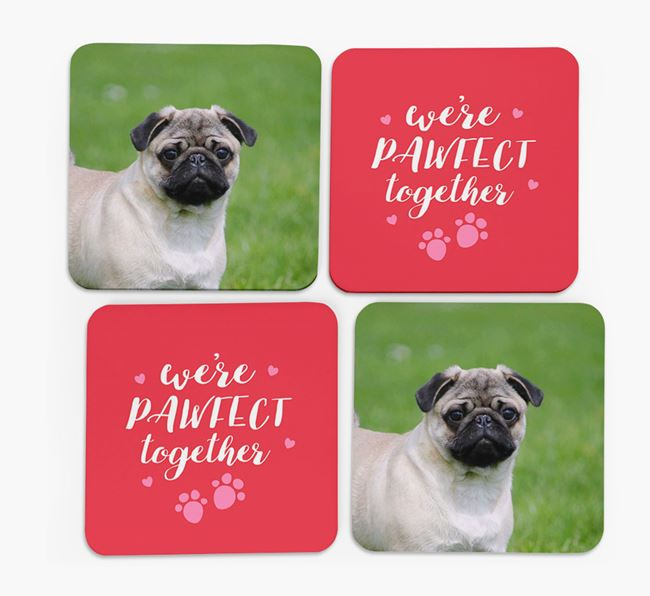 'We're Pawfect Together' Coasters with Photo of your Dog - Set of 4