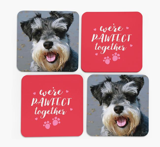 'We're Pawfect Together' Coasters with Photo of your Schnauzer - Set of 4