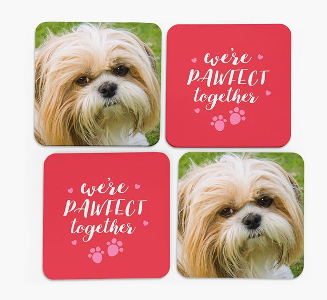 'We're Pawfect Together' Coasters with Photo of your Shih Tzu - Set of 4