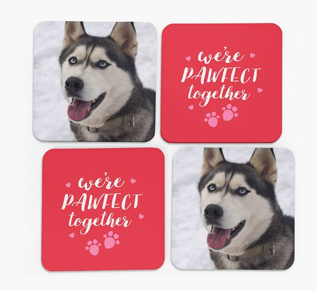 'We're Pawfect Together' Coasters with Photo of your Siberian Husky - Set of 4