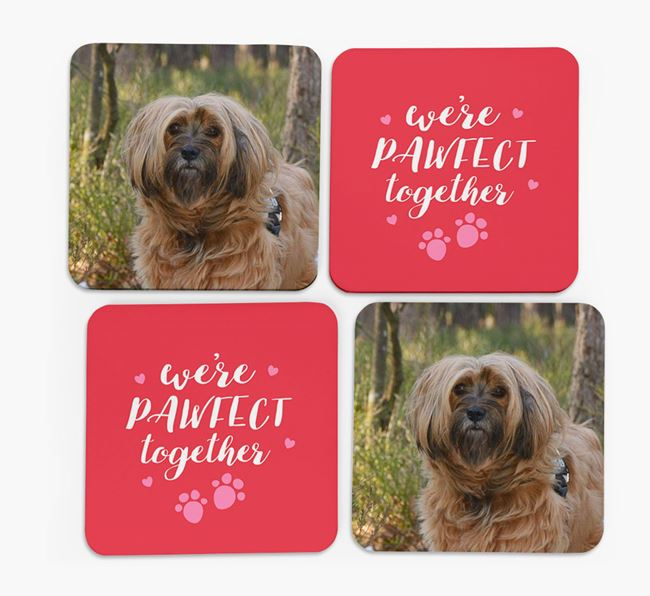 'We're Pawfect Together' Coasters with Photo of your Tibetan Terrier - Set of 4
