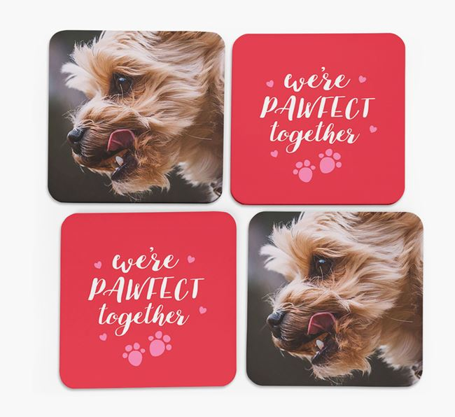 'We're Pawfect Together' Coasters with Photo of your Yorkshire Terrier - Set of 4