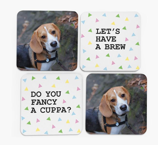 Triangle Pattern Coasters with Photo of your Beagle - Set of 4