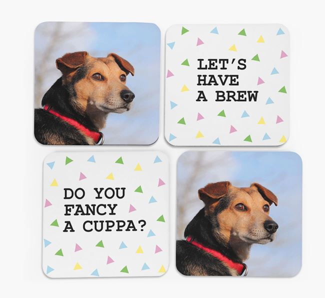 Triangle Pattern Coasters with Photo of your Bedlington Terrier - Set of 4