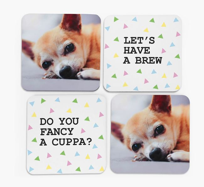Triangle Pattern Coasters with Photo of your Chihuahua - Set of 4