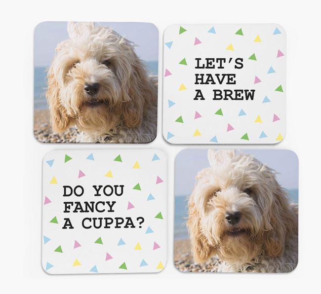 Triangle Pattern Coasters with Photo of your Cockapoo - Set of 4