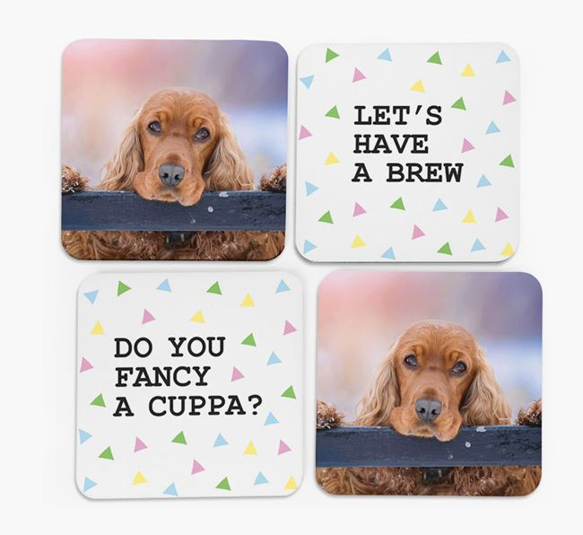 Triangle Pattern Coasters with Photo of your Cocker Spaniel - Set of 4