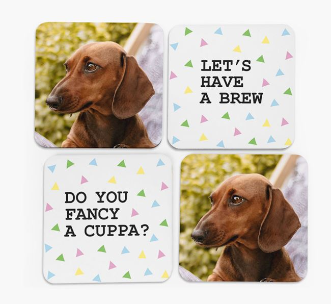 Triangle Pattern Coasters with Photo of your Dachshund - Set of 4