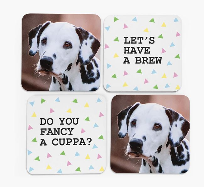 Triangle Pattern Coasters with Photo of your Dalmatian - Set of 4